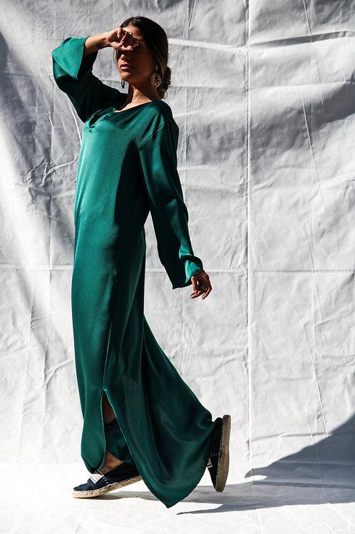 ''Aigli'' green kaftan dress