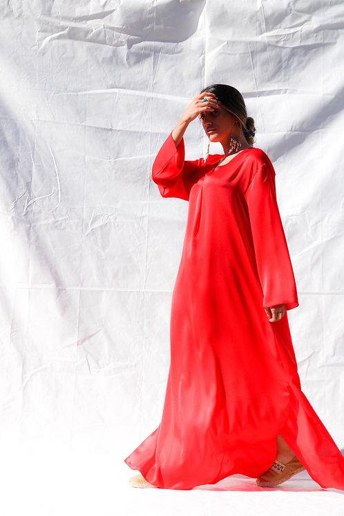''Aigli'' coral kaftan dress