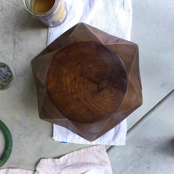Modern geometric walnut table