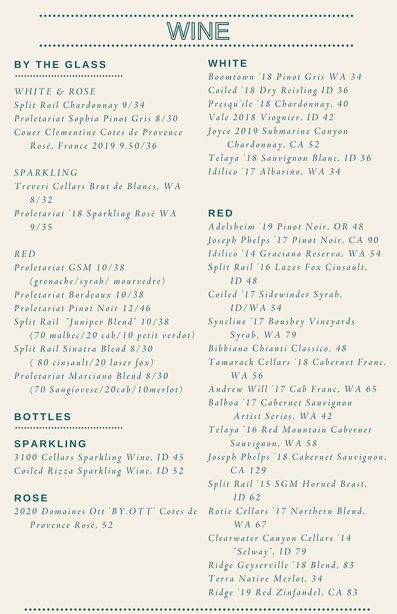 Juniper Wine Menu