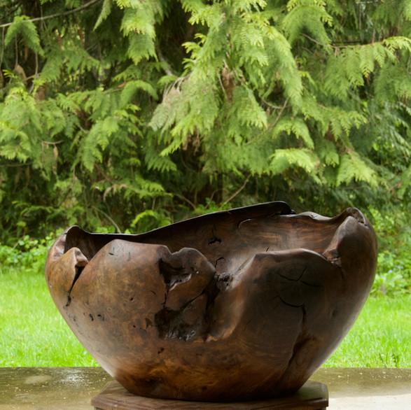 Carved walnut bowl