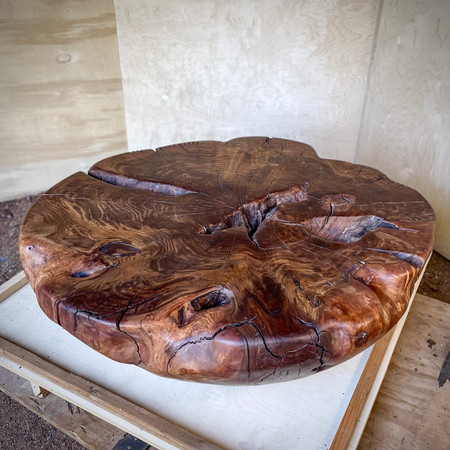 """SOLD - Walnut Coffee Table 19""""h, 50""""d"""