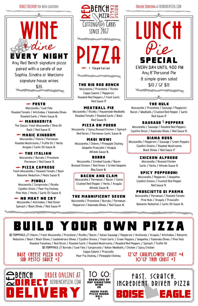 Red Bench Pizza Menu
