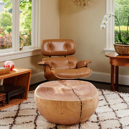 Solid fir wood and bronze table, Seattle Madison Park residence