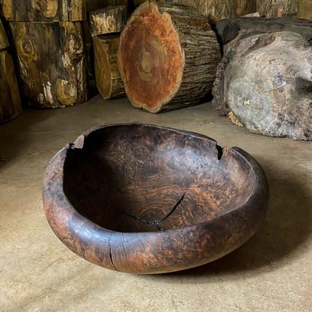 Carved walnut vessel