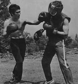 Bruce Lee and Ted Wong training