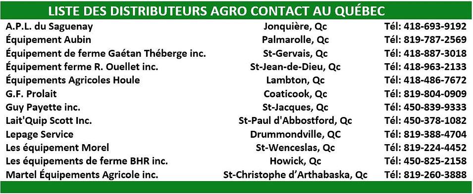 LISTE DES DISTRIBUTEURS AGRO CONTACT 202