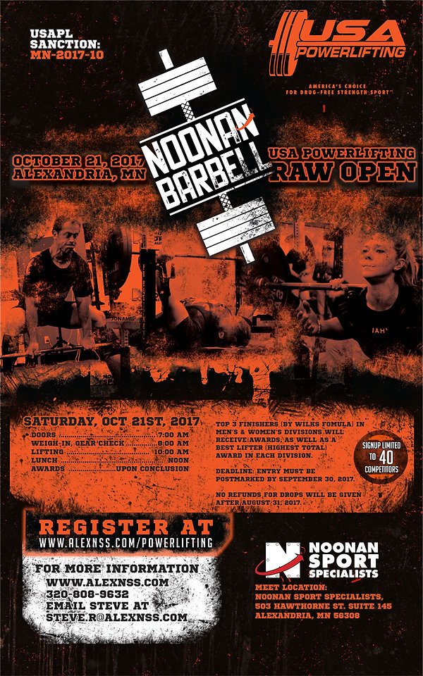 Noonan Barbell USA Powerlifting meet flyer