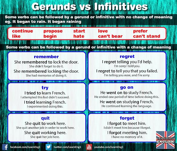 Gerunds vs Infinitives