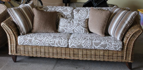 outdoor cushions for wicker furniture by Upholstery by Design