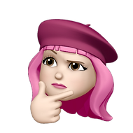 memoji of woman with pink hair looking thoughtful