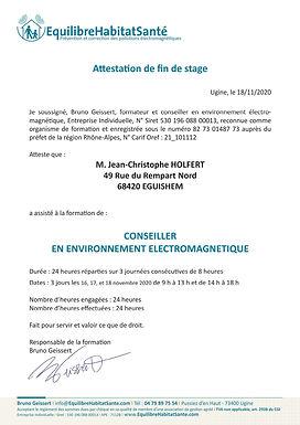 JCH Geotellurique Attestation Jean Chris