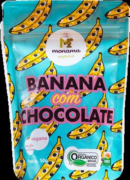 SNACK DE BANANA COM CHOCOLATE 77% MONAMA VEGANO ORGÂNICO - 50G