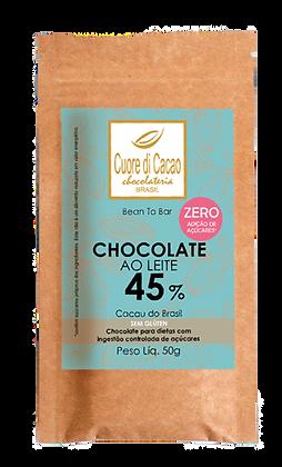 Chocolate 45% Zero Açúcar Cuore di Cacao