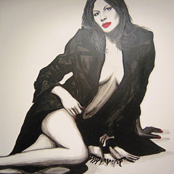 SOLD - Gisele Bundchen seated pose in black coat