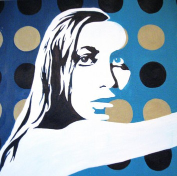 SOLD - Teal Retro Pop Woman