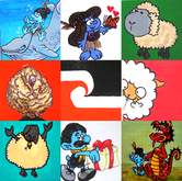 NZ Smurfs and Sheep Collage