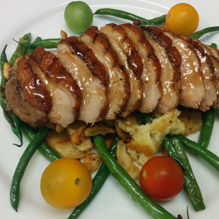 Sous Vide Maple Leaf Duck Breast with Spatzel, French Green Beans and Tomato