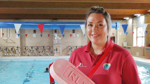 Laura Roberts, 30, from Cemaes, dives into her new job as Lifeguard at Amlwch Leisure Centre