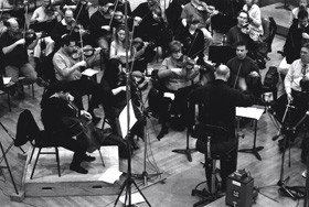 Recording session of Fabian Müller's cello concerto with David Zinman and Philharmonia London