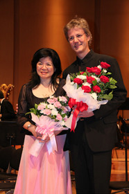 With husband composer Fabian Müller after the premiere of «Sirimadi»