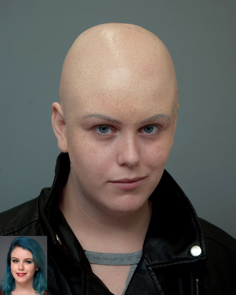 Fabricated and applied bald cap