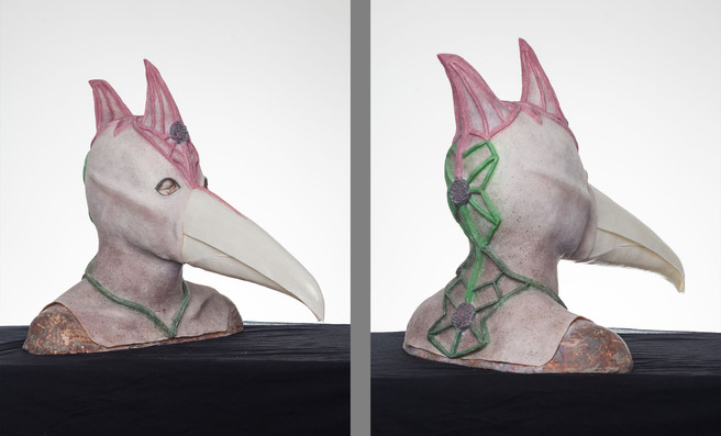 Sclupted and fabricated latex over the head mask and beak