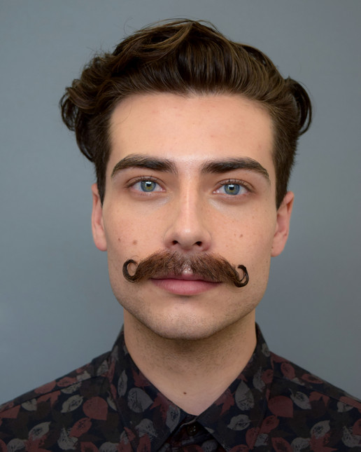 Ventilated and applied lace mustache