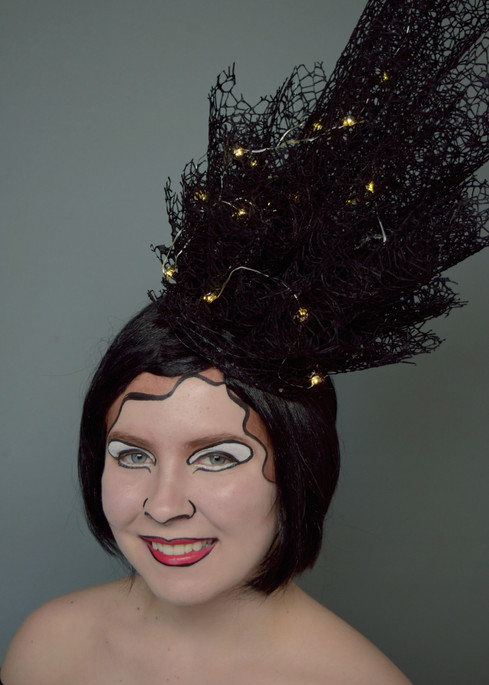 Styled and applied wig; fabricated headpiece