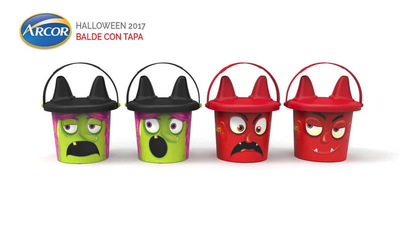 Balde +  Tapa con Diseño personalizado - ARCOR HALLOWEEN