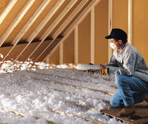 Blown insulation in an attic