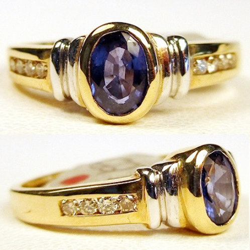 Bezel Set Oval Blue Sapphire & Diamond Ring