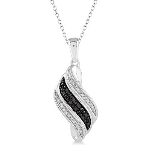 1/10 Ctw White and Black Diamond Fashion Pendant in Sterling Silver with Chain