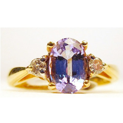 1.09ct Oval Tanzanite & Diamond 3-Stone Ring