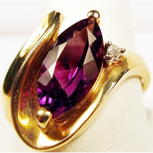 Marquise Shaped Amethyst & Diamond Ring