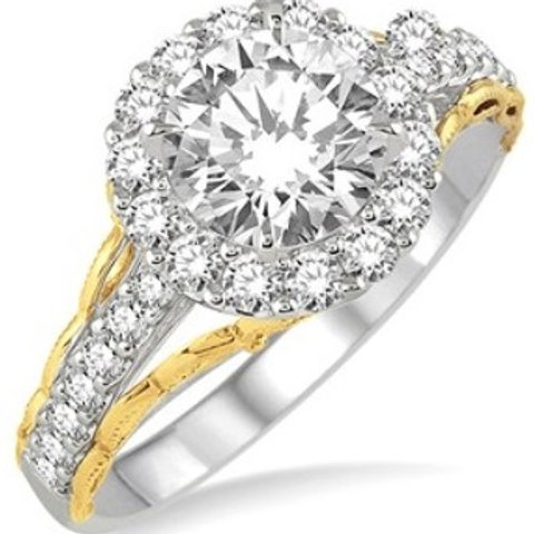 5/8 Ctw Diamond Semi-mount Ring in White and Yellow Gold