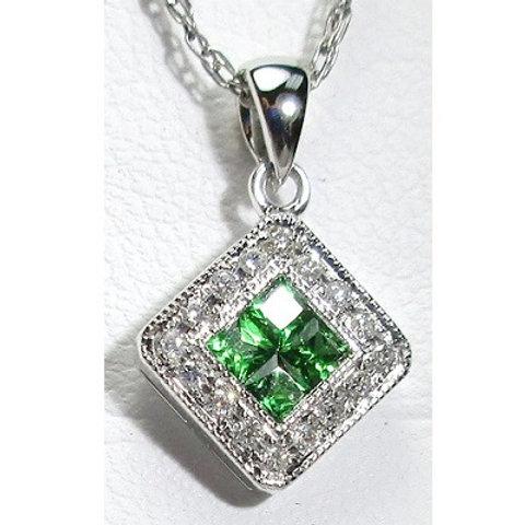 Tsavorite Garnet & Diamond Halo Pendant