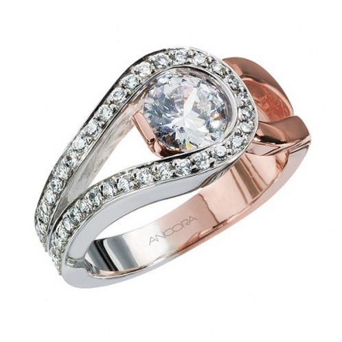 14k Two Toned Rose/White Gold Engagement Ring