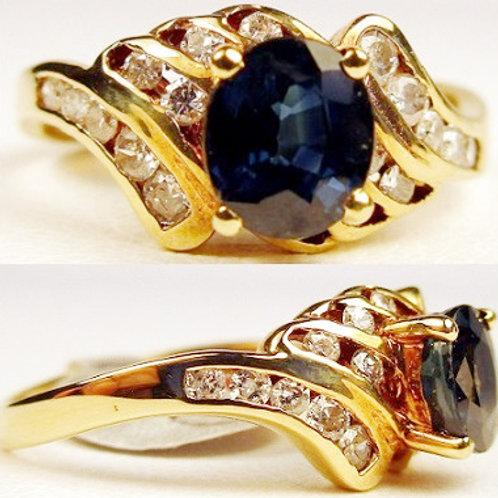 Fat Oval Blue Sapphire & Diamond Ring