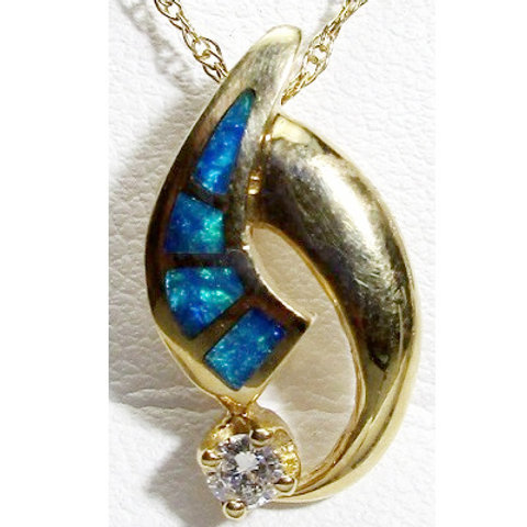 Diamond & Black Opal Inlay Pendant