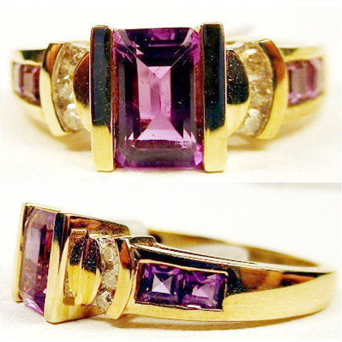 Emerald Cut Amethyst & Diamond Ring