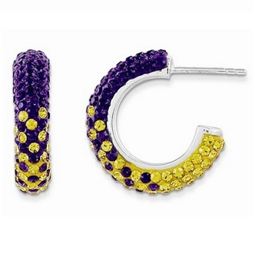 University of Northern Iowa SS and Swarovski Crystal Earrings
