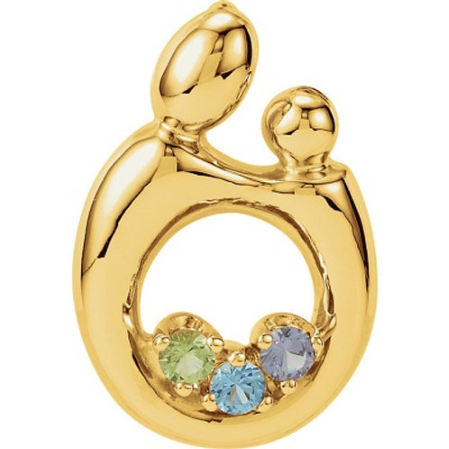 14K Yellow 1-6-Stone Mother and Child® Family Pendant Mounting