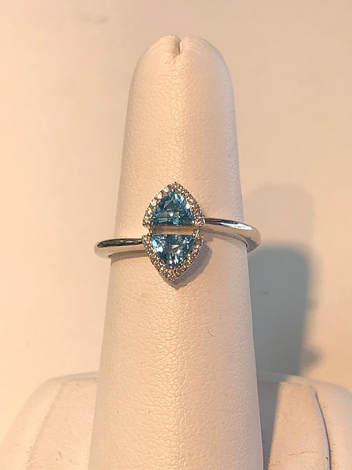 Twin Trillion Blue Topaz Ring