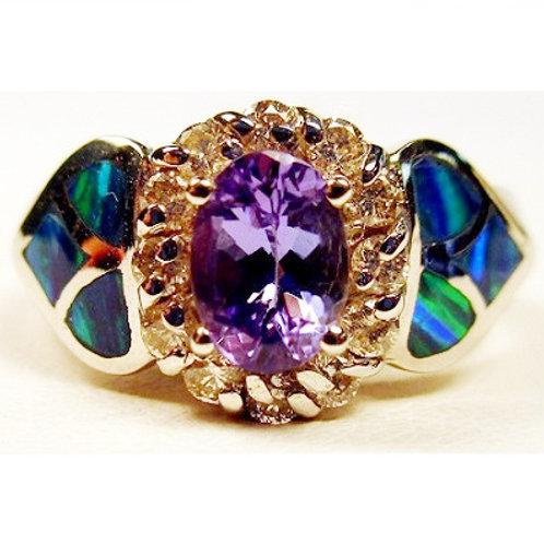 Oval Tanzanite, Diamond & Created Opal Ring