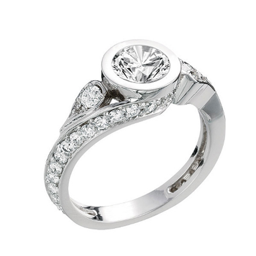 14k White Gold Bezel Curved Engagement Ring