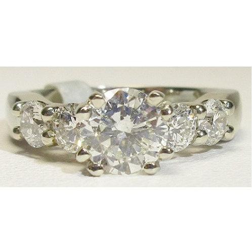 14K White Gold 5-Stone Engagement Ring