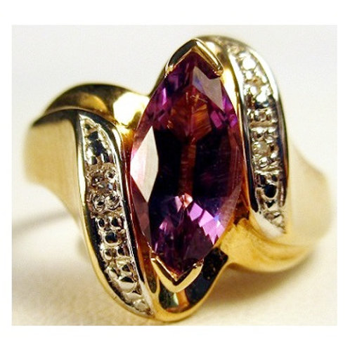 Marquise Amethyst & Diamond Ring
