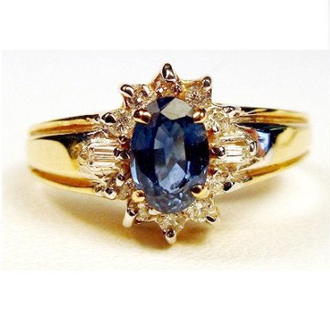Oval Blue Sapphire & Diamond Ring