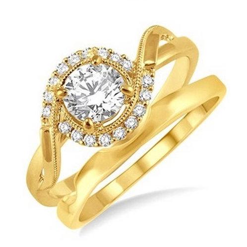 1/3 Ctw Diamond Wedding Set in Yellow Gold